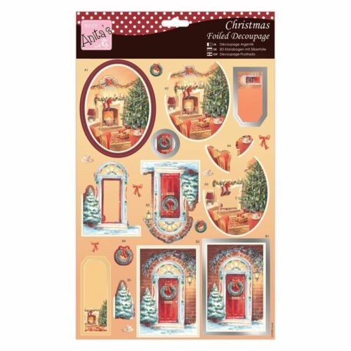 "ANITA/'S FOILED CHRISTMAS DECOUPAGE /""FRONT DOOR/""  FOR CARDS /& CRAFT"