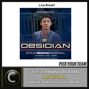 2019-20-PANINI-OBSIDIAN-BASKETBALL-12-BOX-FULL-CASE-BREAK-B466-PICK-YOUR-TEAM
