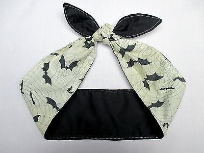 Antique White Bat Bats Headband  Bandana Rockabilly Head scarf cobwebs black