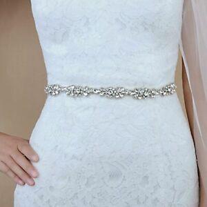 Vintage Bridal Wedding Dress Sash Crystal Crystal Beaded Applique Waist Belt