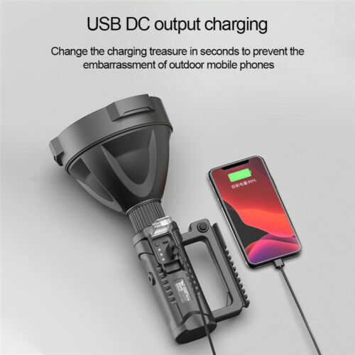 200000LM P50 LED USB Recharge Flashlight Work Light Spotlight Searchlight Torch