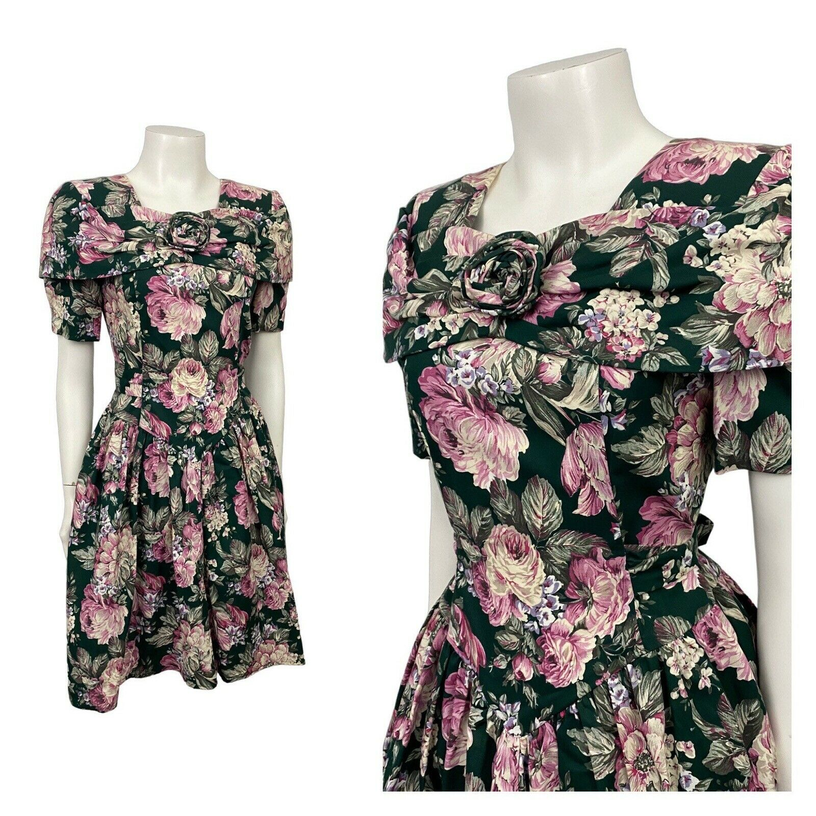 1980s Floral Dress / 80s Tie Belted Party Dress Sweetheart Neckline / Small