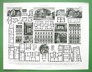 APARTMENT-Buildings-Villas-in-Germany-Plans-Facades-1870-Antique-Print