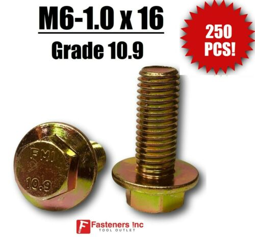 QTY 250 M6-1.0 x 16 MM Metric Hex Flange Bolts Grade 10.9 Screws Zinc Yellow