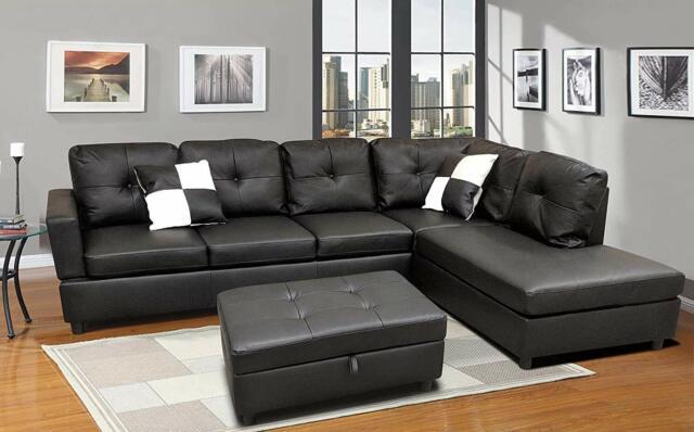 Faux Leather Sectional Sofa Set Black
