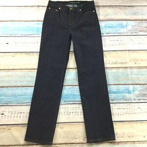 Liz-Claiborne-Womens-Jeans-size-12-Long-Tall-x34-034-new-Dark-Wash-Cotton-Stretch
