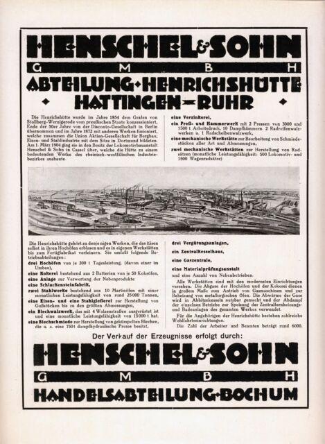 Henschel Henrichshütte Hattingen Reklame 1925 Hochofen Kokerei Stahlwerk Hütte