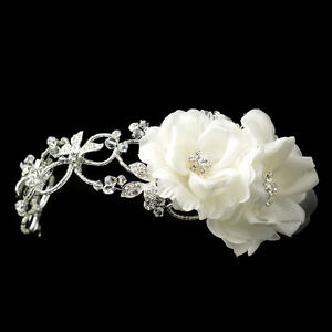 Silver Diamond White Rhinestone Spring Flower Bridal Headband Comb Headpiece