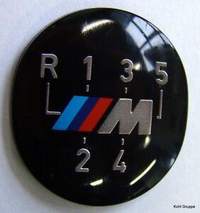 5x-BMW-M-Emblem-Plakette-Schaltknauf-selbstklebend