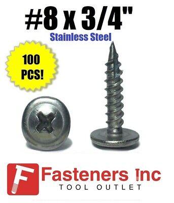 Phillips Modified Truss Head Lath Screw Stainless Steel Screws #8 x 3//4 QTY 100