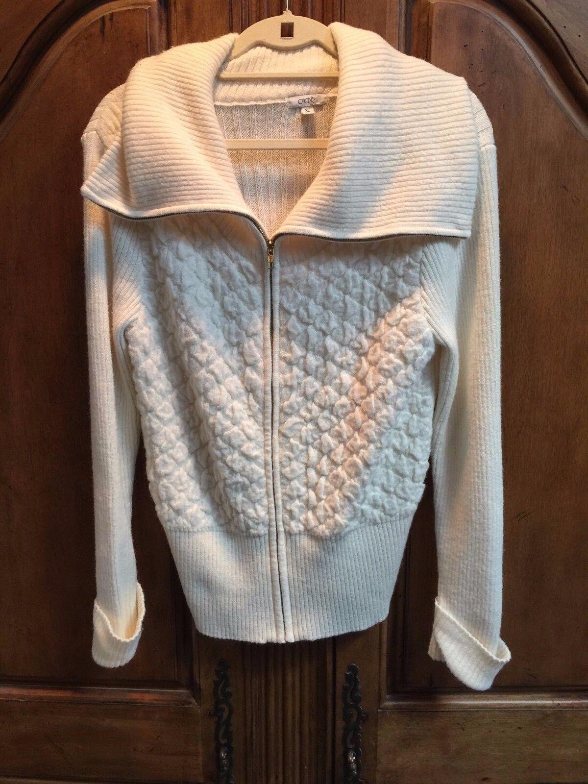 Cache Cream Zip up Knit Top Size XL New