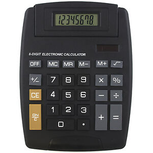 LARGE 8-DIGIT JUMBO DISPLAY CALCULATOR SOLAR BATTERY Big Button Desktop Math
