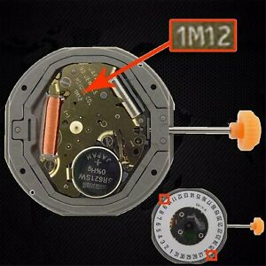 Para-MIYOTA-1M12-LTD-QUARTZ-Movimiento-de-Reloj-Date-at-3-039-6-039-Reemplace-6M12