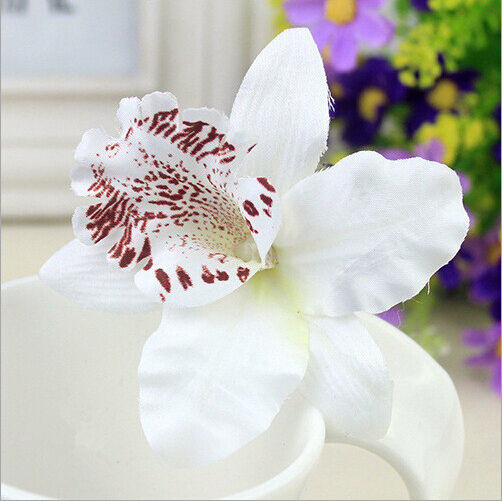 Purple/White Orchid Flower with leopard print Hair Clip Brooch wedding Bridal
