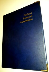 NATIONAL-RECORD-OF-ACHIEVEMENT-PVC-A4-FOLDER-IN-Blue-LEATHER-LOOK-WITH-gold