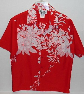 Hilo Hattie Aloha Hawaiian Shirt Red White Floral Made in Hawaii Men's Large