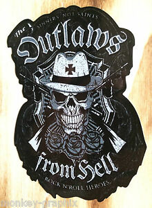 """Oldschool Ratrod Sticker /""""Outlaws from Hell/"""" Schlagring Aufkleber US Auto Bike"""