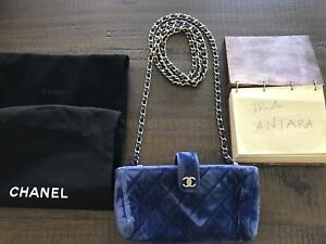 a8c0be343aa688 Image is loading Authentic-Chanel-Blue-Velvet-Mini-Clutch-Long-Chain-