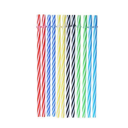 20Pcs Reusable Colorful Hard Plastic Stripe Drinking Straw Clean Wedding Sale