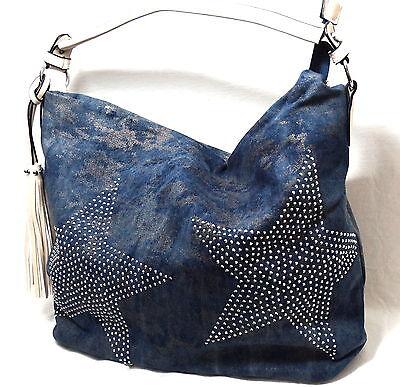 Shopper Tasche Handtasche Schultertasche Beuteltasche mit Stern Strass