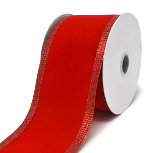 10-Yard Red Velvet Metallic-Colored Trim Wired Ribbon 2-1//2-Inch