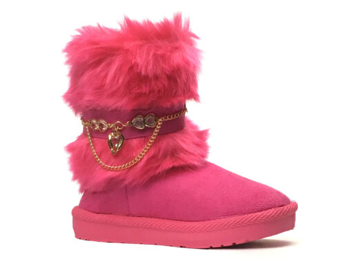 New Kids Boots Toddler Girls Rhinestone Accent Long Faux Fur Suede Snow Boot-212