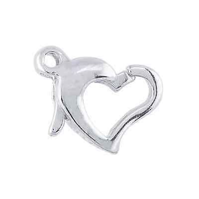 .925 STERLING SILVER 11MM OPEN HEART LOBSTER CLASP IMPORTED FROM ITALY -Lot of 2