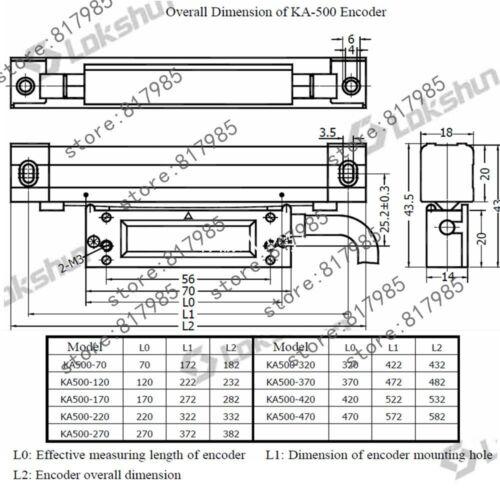 Sino KA500 520-770 Slim échelle linéaire 5 Microm KA500 Linear encoder