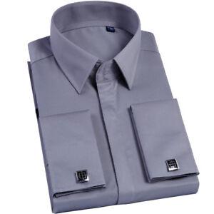 Nuevo-Para-Hombres-Camisa-de-vestir-de-negocios-formal-frances-puno-con-gemelos-boda-GT432