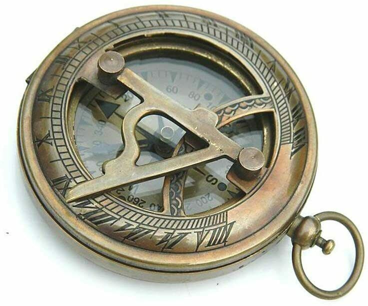 Antique Nautical Brass Push Button Sundial Compass With Leather Case