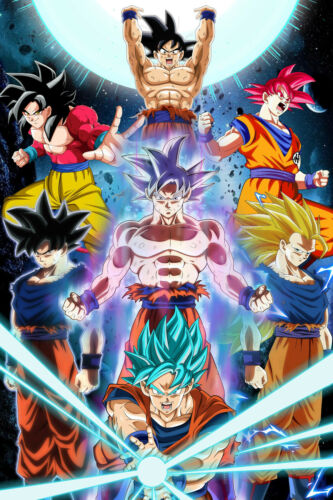 Dragon Ball Z//GT//Super Poster Goku Transformations 12inx18in Free Shipping