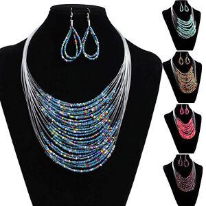 Fashion-Jewellery-Women-Ladies-Jewellery-Earring-Necklace-Set-Multi-layer-Beads