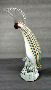 """Art Glass Sculpture Cockatoo Parrot Bird Tall Multicolor Figurine 11.5"""""""