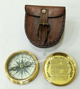 Antique Look Nautical Collectibles Brass Magnetic Compass With Leather Case Gift Ebay