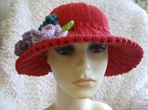 Ladies Broad Brimmed Sun Hat Queenie/'s Garden Simple Knitting Pattern