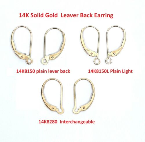 2 pieces,6 pieces. 14K  Solid Gold  Lever Back Earring