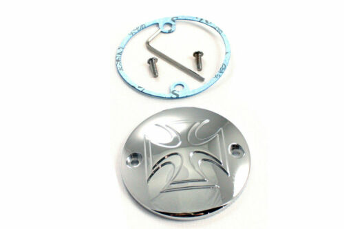 Chrome Raised 2-Hole Maltese Ignition System Cover for Harley Davidson by V-Twin