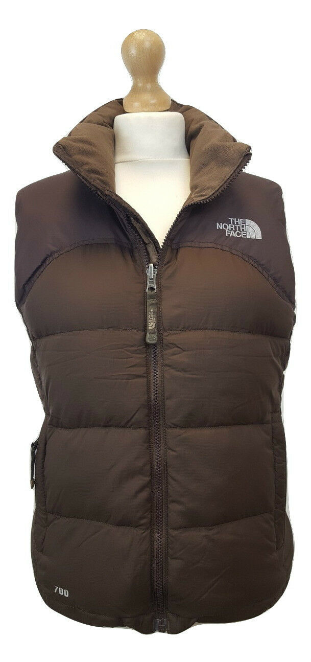 Q095 The North Face Ladies Brown Nuptse 700 Down Fill Gilet Bodywarmer Vest, XS