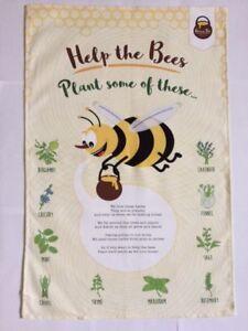 Bee Tea Towel Herb Tea Towel FREE Lavender Seeds UNUSUAL GIFT