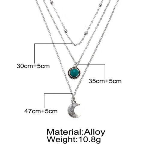 Fashion Women Boho Choker Necklace Turquoise Moon Chain Silver Pendant Jewelry