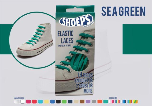 Shoeps Lacci Elastici per Scarpe 14 piece Verde mare (t4w)