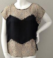 Roman Fashion Floral Lace Inset Top Blouse W/ Back Zipper Black - Plus 1x 2x 3x