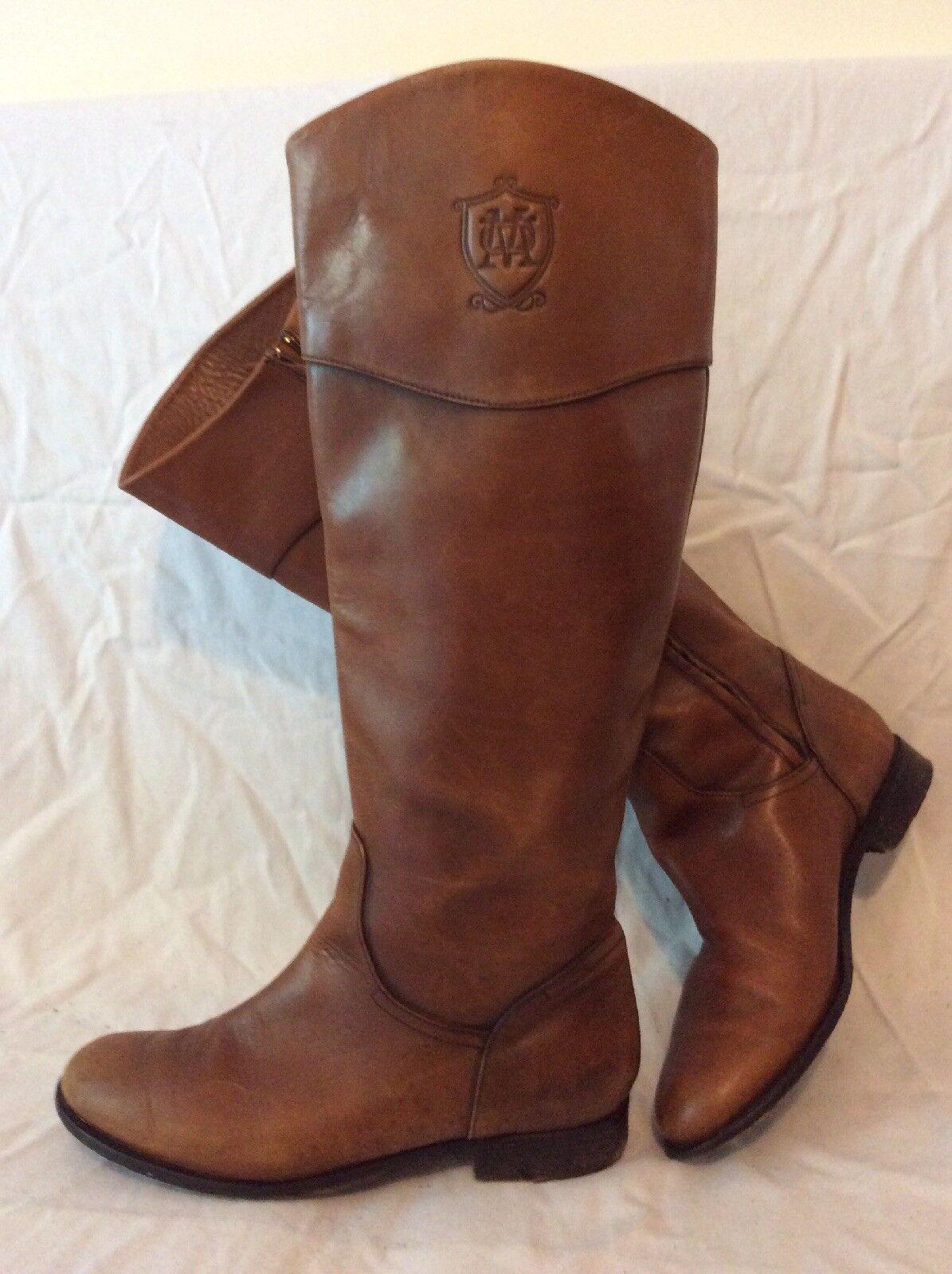 Massimo Dutti braun Knee High Leather Stiefel Größe 41