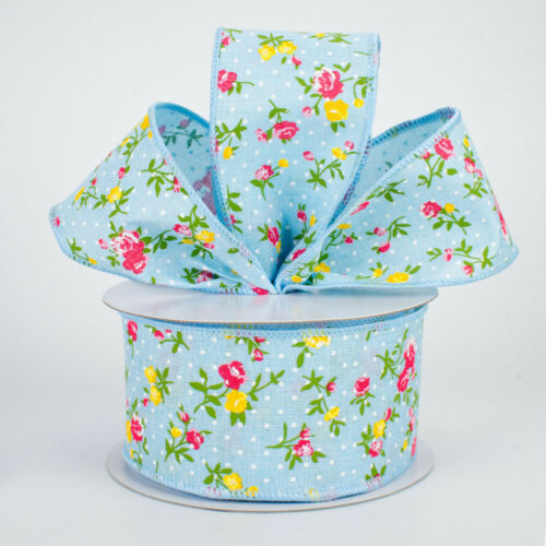 """2.5/"""" Vintage Floral Swiss Dots Wired Ribbon 5 Yards SALE Blue"""