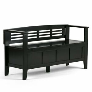 Strange Details About Atlin Designs Entryway Storage Bench In Black Theyellowbook Wood Chair Design Ideas Theyellowbookinfo