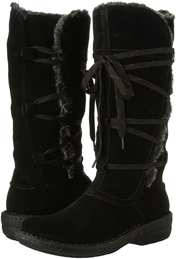 Clarks Women's Avington Hayes Lace Up Black Suede Insulated Winter Boot 26120452