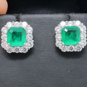Hand-Carved-2Ct-Green-Natural-Emerald-Diamond-Halo-Stud-Earrings-Jewelry-Gift