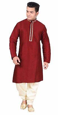 Men Indian Raw Silk Kurta Shalwar Kameez pajama smart formal wear sherwani 1809