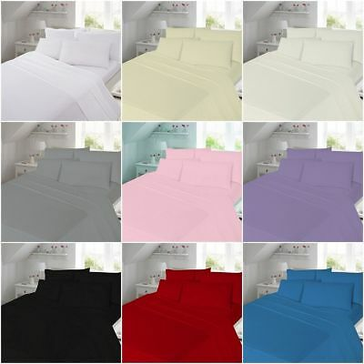 Soft Plain Dyed 100/% Flannelette Fitted Sheets And Flat sheets with Pillow Cases