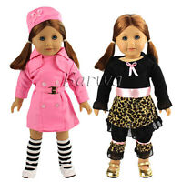 2 Sets Handmade Cute Clothes=coat T-shirt+pants For 18 Inch American Girl Doll